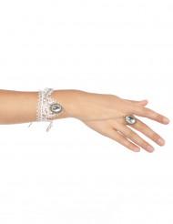 Armband en ring van wit kant voor vrouwen