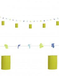 Groene en gele slinger met bloemen en lantaarns 3 m