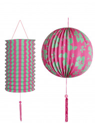 Set 2 lantaarns groen en roze