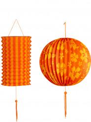 Set oranje en gele lantaarns