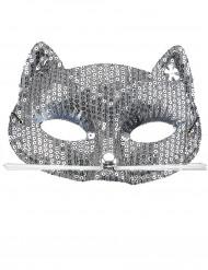 Zilverkleurige poesje masker voor volwassenen