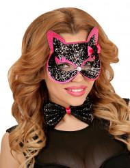 Zwarte kat met glitters masker voor volwassenen