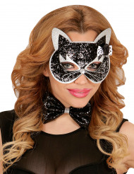 Zwarte en zilveren glitter kattenset voor volwassenen