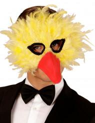 Geel vogel masker met veren voor volwassenen