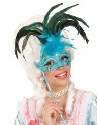 Masker op stok met grote blauwe veren voor volwassenen