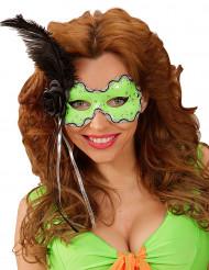 Groen masker met zwarte veer voor dames