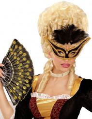 Barok masker met zwarte veren voor vrouwen