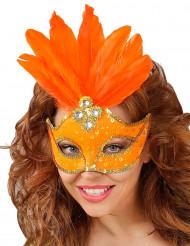 Oranje masker met veren voor dames