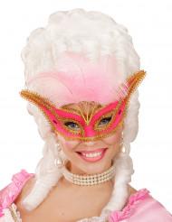 Roze masker met veren voor dames