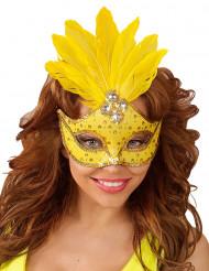 Geel masker met veren voor dames