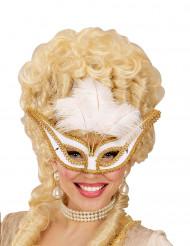 Barok masker met witte veren voor vrouwen