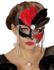 Tweekleurig masker rood en zwart met veren voor vrouwen
