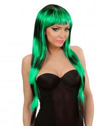 Lange pruik met pony zwart en groen voor vrouwen