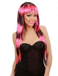 Lange pruik met zwarte en roze pony voor vrouwen
