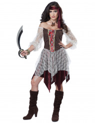 Elegant piraten kostuum met netstof voor vrouwen