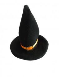 2 versieringen kleine heksen hoeden met oranje lint