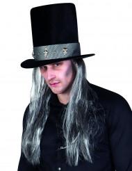Gothic hoge hoed met haren voor volwassenen