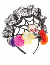 Dia de los Muertos haarband met bloemen