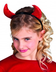 Rode duivel hoorntjes met glitters voor kinderen Halloween