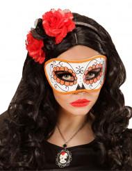 Oranje masker met glitters voor volwassenen