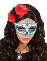 Blauw Día de los muertos glitter masker voor volwassenen