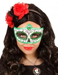 Groen Dia de los Muertos oogmasker volwassenen