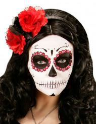 Zwarte en rode bloemen haarband Día de los muertos