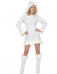 Wit sexy Eskimo kostuum voor dames