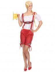Rood Tiroler kostuum short voor vrouwen