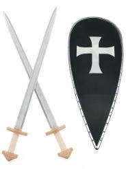 Kruisridderset schild en zwaarden voor kinderen