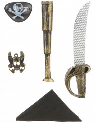 Piratenset - Sabel, verrekijker, bandana, insignia en ooglapje voor kinderen