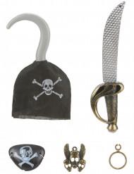 Piratenset - Sabel, haak, speld, ooglapje en een oorbel voor kinderen