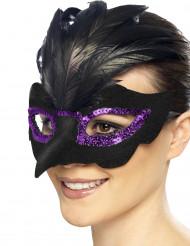 Zwart ravenmasker met paarse lovertjes voor vrouwen