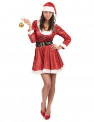 Kerstvrouw kostuum met lovertjes voor vrouwen