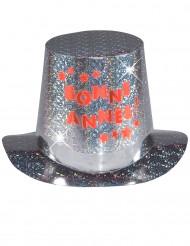 Gelukkig Nieuwjaar hoge hoed met licht voor volwassenen