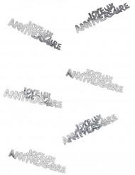 Zilverkleurige Joyeux anniversaire confetti