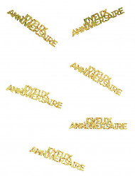 Goudkleurige Joyeux Anniversaire confetti