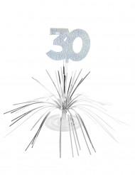 Zilverkleurige glinsterende tafeldecoratie 30 jaar