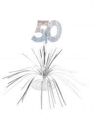 Zilverkleurige glinsterende tafeldecoratie 50 jaar