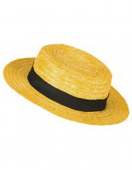 Stro hoed oranje
