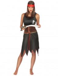 Zwart en bruin piraten kostuum voor dames