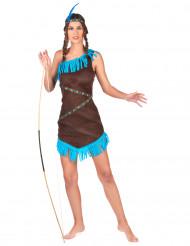 Blauw en bruin indiaan kostuum met franjes voor vrouwen