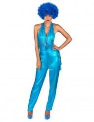 Blauw eendelig disco kostuum voor vrouwen