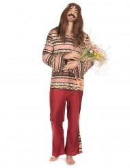 Bordeaux rood hippie kostuum voor mannen