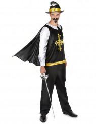 Zwart en goudkleurig musketier kostuum voor mannen