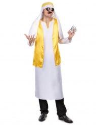 Arabische sjeik kostuum wit en geel voor mannen