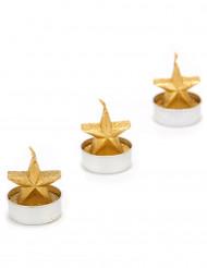 3 gouden kaarsjes in vorm van ster