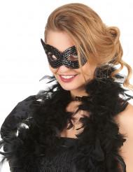 Zwarte Venetiaanse masker met lovertjes voor volwassenen