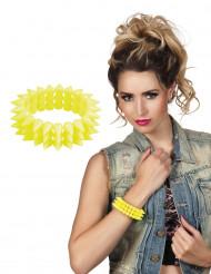 Fluo geel punk armband voor volwassenen