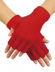 Rode vingerloze handschoenen volwassenen